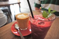 Beet Juice and Latte